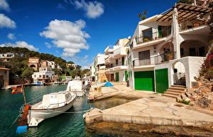 Картинки Испания Курорты Дома Пристань Лодки Мальорка Майорка Cala Figuera