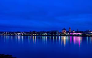 Фотография Германия Реки Дома Майнц В ночи