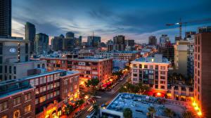 Фотографии Америка Дома Сан-Диего Ночь Улице Города