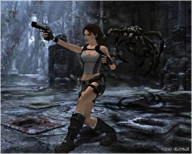 Картинка Tomb Raider Пистолеты Пауки Лара Крофт Игры Девушки 3D_Графика
