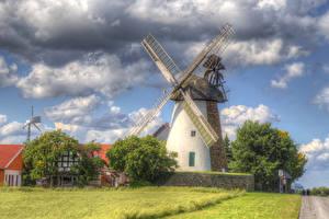 Фотография Германия Здания HDR Мельница Облако Трава Ostwestfalen Города