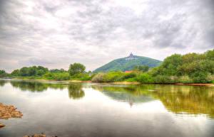 Фото Германия Реки Небо HDRI Porta Westfalica Природа
