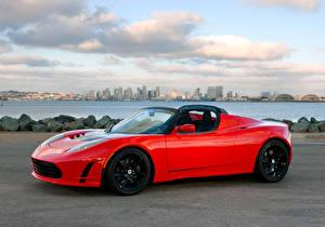 Обои Tesla Motors Красная Металлик Кабриолета Родстер 2010-16 Roadster Sport Автомобили