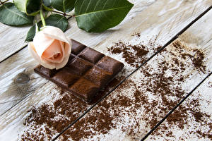Фотография Сладости Шоколад Розы Шоколадная плитка Какао порошок Пища
