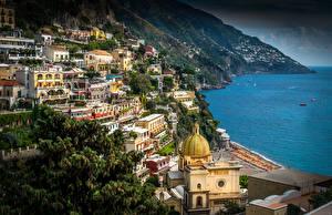 Картинка Италия Берег Здания Позитано Амальфи Amalfi Coast