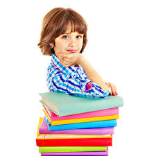 Обои Девочки Шатенка Взгляд Книга Белый фон Дети фото