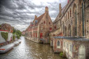 Картинка Бельгия Дома Лодки HDR Водный канал Bruge Города