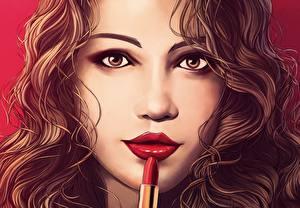 Обои Рисованные Лицо Взгляд Волосы Шатенка Девушки фото