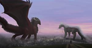 Картинки Дракон Двое Крылья Фэнтези