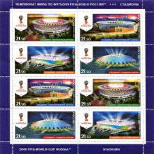 Обои Футбол Россия Почтовая марка FIFA World Cup 2018, Stadiums Спорт фото