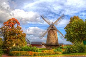 Картинки Германия Осень HDR Мельница Облака Кусты Деревья Minden Природа