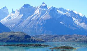 Картинки Чили Горы Озеро Pehoe Lake Patagonia Природа