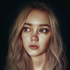 Обои Рисованные Лицо Взгляд Волосы Девушки фото