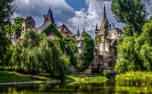 Фотография Будапешт Венгрия Замки Пруд Деревья HDR Vajdahunyad Castle Города
