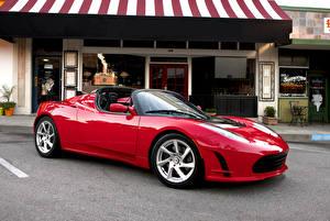 Обои Tesla Motors Красный Металлик Кабриолет Родстер 2010-16 Roadster Sport Автомобили