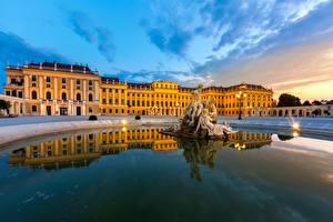 Фотография Австрия Скульптуры Небо Вена Дворец Ночные Уличные фонари Schonbrunn Palace
