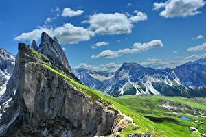 Фотография Италия Горы Небо Пейзаж Альпы Облака Gardena Природа