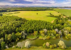 Картинка Чехия Пейзаж Реки Поля Лето Леса Uhersky Ostroh Природа
