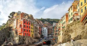 Фотографии Италия Дома Лигурия Скала Riomaggiore Города