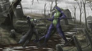Фотография Воители Битва Сверхъестественные существа Двое Копья Фэнтези