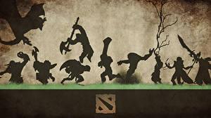Картинки DOTA 2 Воители Монстр Драконы Силуэты компьютерная игра Фэнтези