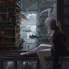 Bunnygirl Сидит Reisen Udongein Inaba, Touhou, Du Xiedai Zhe  Девушки