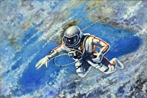 Обои Космонавты Рисованные Космос фото