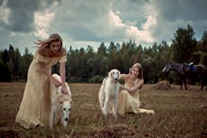 Картинка Собаки Борзые 2 Платье Девушки Животные