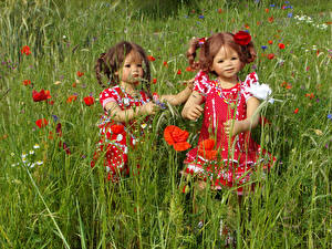 Фотография Парк Маки Куклы Девочки Двое Платья Grugapark Essen Природа