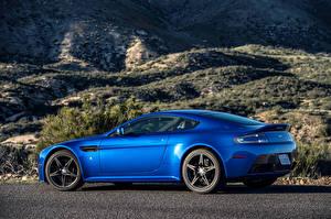 Обои Aston Martin Синий Сбоку 2017 V8 Vantage GTS Машины