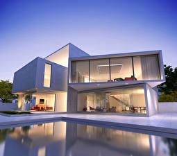 Картинка Дома Вечер Особняк Дизайна Бассейны Города 3D_Графика