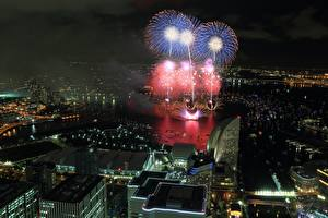 Картинка Фейерверк Дома Япония Ночные Сверху Yokohama город