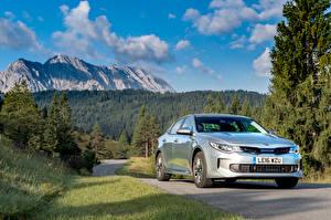 Обои Киа Небо Серебристый Металлик Гибридный автомобиль 2016 Optima Plug-In Hybrid