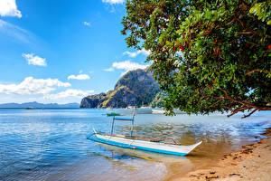 Обои Филиппины Пейзаж Побережье Лодки Небо Море Природа фото