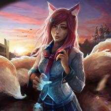 Фотографии League of Legends Ahri Галстук Nine-Tailed Fox Игры Девушки Фэнтези