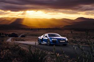 Картинки Ауди Синяя 2016 R8 V10 Plus машины