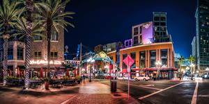 Обои США Дома Сан-Диего Улица Уличные фонари Ночные Города