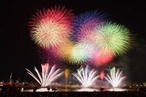 Картинка Салют Токио Япония Ночь Города