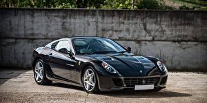 Обои Ferrari Черный Металлик 2006-2012 599 GTB Fiorano Pininfarina Автомобили фото