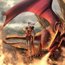 Фото Dragon Age Драконы Пламя Крылья Flemeth Фэнтези Девушки