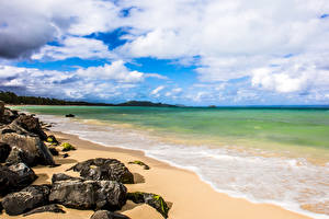 Обои Побережье Камни Океан Гавайи Облака Пляж Природа фото