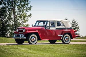 Обои Ретро Красный Металлик Сбоку 1950 Willys-Overland Jeepster Phaeton (VJ) Автомобили фото