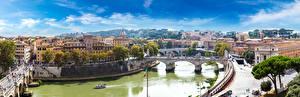 Фото Рим Италия Здания Речка Мосты