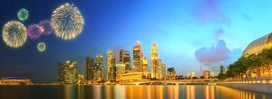 Фотография Сингапур Здания Реки Салют Небоскребы Ночью Города