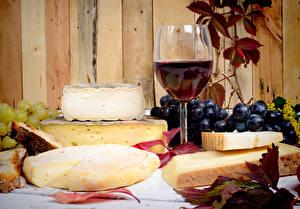 Обои Натюрморт Вино Виноград Сыры Бокалы Пища