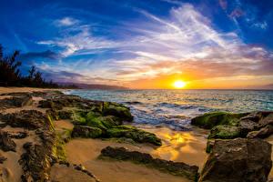 Обои Пейзаж Рассветы и закаты Побережье Небо Камни США Океан Гавайи Мох Солнце Природа фото