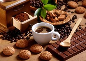 Картинка Кофе Печенье Шоколад Чашка Зерна Продукты питания