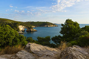 Обои Италия Побережье Небо Камни Кусты Vieste Costa del Gargano Природа фото