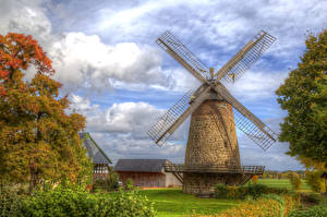 Фото Германия Осень HDR Мельница Деревья Облака Minden Природа