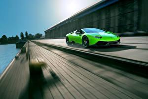 Картинка Lamborghini Зеленый Huracan Spyder Novitec Torado Автомобили
